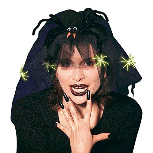 NET TOYS Spinnen Kopfbedeckung mit Schleier Hexen Kopfschmuck Schwarze Witwe Haarschleier Widow Spinnenhut Hexenschleier Hut Halloween Kostüm Zubehör