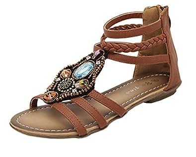Qitun Damen Roman Flache Zehentrenner Strand Sandale Casual Peep-Toe Sommer Schuhe Weiß EU 35 GQ574O33