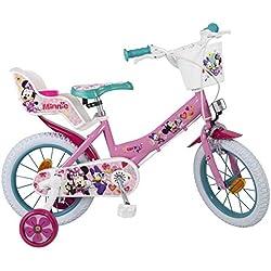 Bicicleta Toimsa Minnie de 14 para la edad de 4 a 6 años. Tiene portabebés en la parte trasera y una cesta para poner tus objetos en la parte delantera, frenos delanteros y traseros y asiento regulable en altura