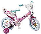 Toimsa - Bicicletta da Bambina (dai 4 ai 7 Anni), 35,56 cm, Motivo: Minnie, Rosa (Rosa)