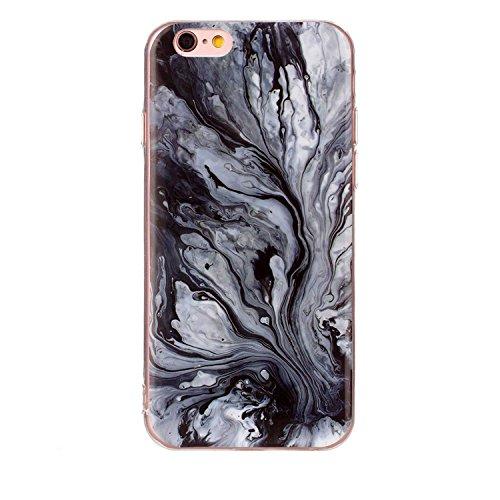 Apple iPhone 6 6S TPU Marmor-Hülle – Marmor Optik Case Schutzhülle Crystal Case mit hochwertiger Marmor Optik Marmormuster Marble Design – MOVOJA – Grün-Marmor Schwarz Fließend
