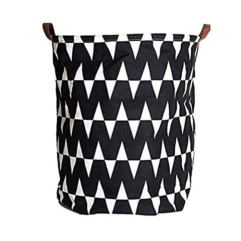 Canvas Laundry Basket Storage Bag Toy Organizer with Leather Strap 40cm*50cm - by Migaoeco (Wavy Striped
