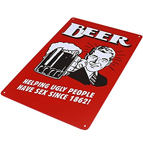 Tin Sign Wall Decor Metal Bar Plaque Pub Poster Retro BEER Helping Ugly People
