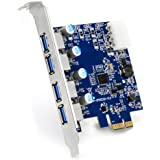 CSL - 4-Port USB 3.0 (super speed) card PCIe express controller card | Interface card USB 3.0 | New model / New driver | USB hub internal