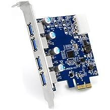 CSL - Scheda 4 Port USB 3.0 (Super Speed) PCIe scheda controller Express | scheda di interfaccia USB 3.0 | nuovo modello / nuovo driver | hub USB interno
