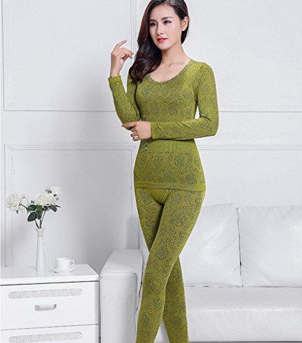 Evedaily Damen Thermounterwäsche Set (Hemd + Hose) Rund-Ausschnitt -10 Farben zur Auswahl Grün