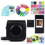 Jxe accessoire de jeu de Lots Noir Camera Case Sac de rangement/Films/cadres/Ablum/Stickers/dentelle Bordure Photo/pinces en bois pour Fujifilm Instax carré Sq10Camera