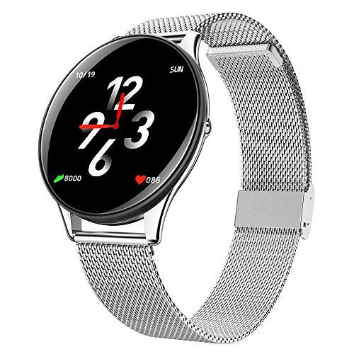 Gyfdjh 2in1 Smart Watch für Männer Frauen Runde Smartwatch Herzfrequenz-Blutdruckmessgerät Sport Laufaktivität Tracker für Android & iOS Handys,Silver 902 Handy