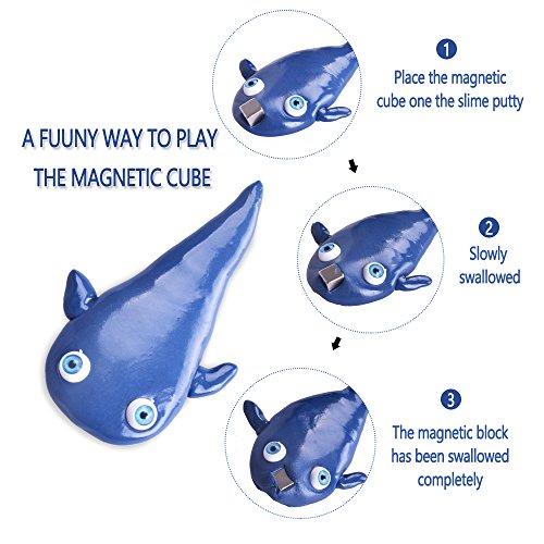 LeeHur Arcilla y Plastilina Mágica Lodo de Goma Inteligente con Ojos Arcilla Mágica DIY Creativa Juguetes Magnéticos Terapia Estrés para Niños y Adulto Azul