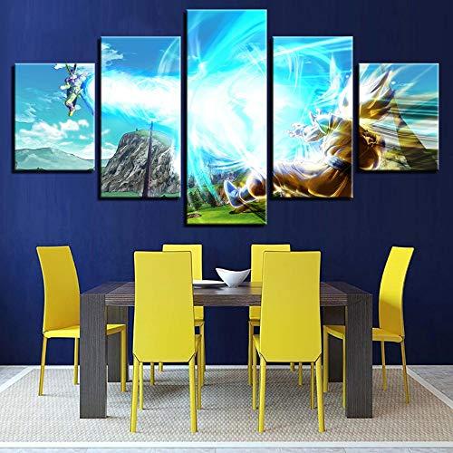 Wwddp Dekoration Poster Wandkunst Bilder Rahmen 5 Panel AnimationWohnzimmer Moderne Hd Bild Gedruckt Malerei-40x60cmx2 40x80cmx2 40x100cm