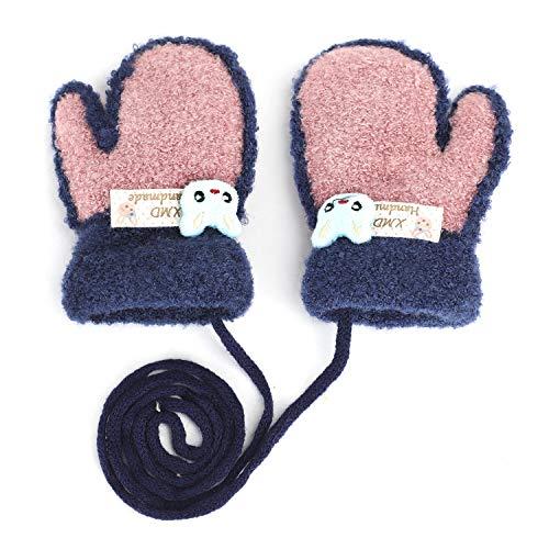 YSXY Niedliche Kinder Baby Fäustlinge Winter Warme Gestrickte Handschuhe mit Band Gefüttert Fausthandschuhe Strickhandschuhe für 1,2,3 Jahre Kleinkind Jungen Mädchen, Altrosa, Einheitsgröße | 06941575774924