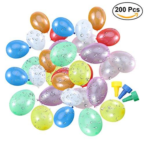 TOYMYTOY 200 Stück Wasserballons Wasser Bomben mit 3 Werkzeugen zum Füllen von Wasser