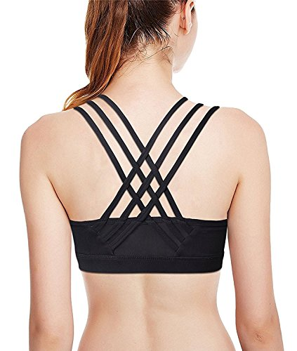 Criss Cross Rücken-unterstützung (DeepTwist Sport-BH,Damen Criss-Cross Back Kabellos Workout Sport Yoga Bra Abnehmbare Pads,UK-DT145-Black-S)
