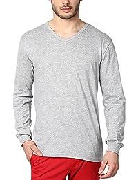 INKOVY Men's Cotton Full Sleeve V-Neck T-Shirt