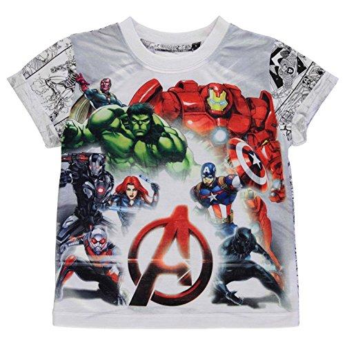 Character Kinder Jungen T Shirt Kurzarm Rundhals Print Freizeit Regular Fit Avengers 3-4 Yrs (Kurzarm-gestreiften Rugby-shirt)
