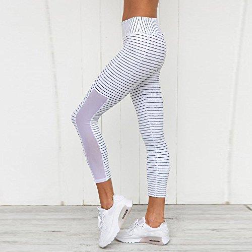 Sunenjoy Yoga Pantalon Femmes Rayé Élastique Mesh Patchwork Sport Leggings Respirant Pantalon de Culture Active blanc