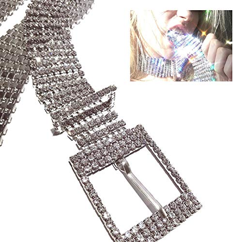 Mimiga Strassgürtel Damen Silber Glitzer Modeschmuck Hüftgürtel Breiter Gürtel Taillengürtel Luxus Glänzende Gürtel Taille Kette Kristall Diamant