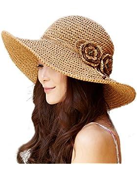 Sombrero De Paja Las Mujeres Sombrero Del Verano Tejido A Mano Sombrero De Sun Borde Ancho Grande Protegiéndose...