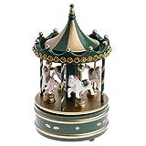 MagiDeal Boîte à Musique Carrousel avec Cheval en Bois Plastique Décoration Maison Fête Noël Cadeau Créatif Enfant - Vert