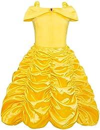 AmzBarley Disfraz de Princesa Belle Vestido de Fiesta Cosplay para niñas ,Halloween