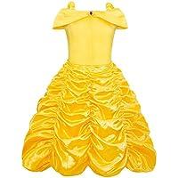 AmzBarley La Principessa Belle Costume Abito a Strati per Ragazze Bambini  Festa in Cosplay Fantasia Vestire 8a41808fade
