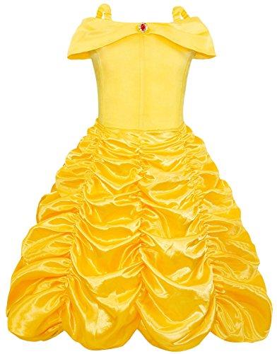 AmzBarley Prinzessin Belle Kostüm Kleid Kinder Mädchen Party Schick Kleider Cosplay Kleidung Halloween Karneval Ankleiden Geburtstag Zeremonie Rollenspiel