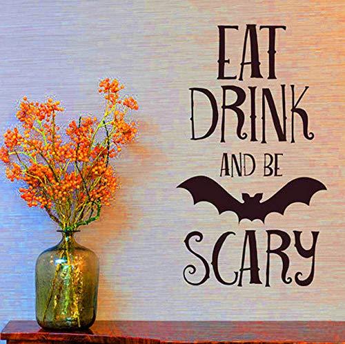 Syssyj Essen Trinken Be Scary Zitate Wandaufkleber Halloween Party Decals Home Raumdekoration Adesivo De Paredes Abnehmbare Diy Wandaufkleber