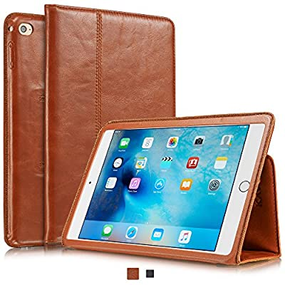 "KAVAJ Leather iPad mini 4 Case Cover ""Berlin"" for Apple iPad mini 4 Black or Cognac-Brown Genuine Cowhide Leather with Built-in Stand Auto Wake/Sleep Function. Slim Fit Smart Folio covers iPad mini 4"