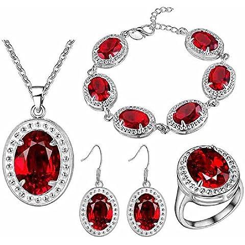 Bling fashion placcato argento 925forma rotonda austriaca Crystla rubini rossi gioielli (collana + Orecchini + Anello + Bracciale)