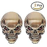 2 PCS 3D Schädel Zink-Legierung Metall-Auto-Motorrad-Aufkleber Schädel-Emblem-Abzeichen-Car Styling Stickers Zubehör (Golden)