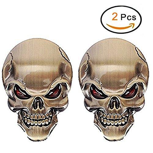 2PCS cráneo 3D aleación de zinc metal etiqueta engomada del coche de la motocicleta del cráneo la insignia del emblema del coche pegatinas Styling Accesorios (Dorado)