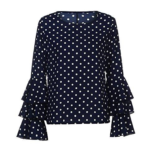 Topgrowth Felpa Manica Corta Donna Polka Punto Camicia Cotone Casuale Camicetta Top Moda Blusa Donne Manica Lunga Blu