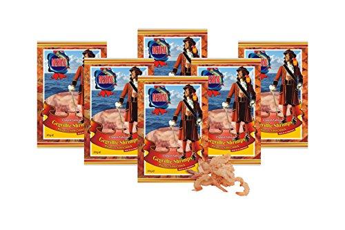 Gegrillte Shrimps 6 Stück je 20 g getrocknet und gesalzen Low Carb Fitness Food Eiweiß Snack Jerky Trockenfleisch Snack Protein Snacks Omega - 3 Meeresfrüchte