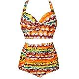 INGSIST Plus Size High Waist Vintage Retro Bikini Women's Push Up Separate Swimwear (M-4XL)