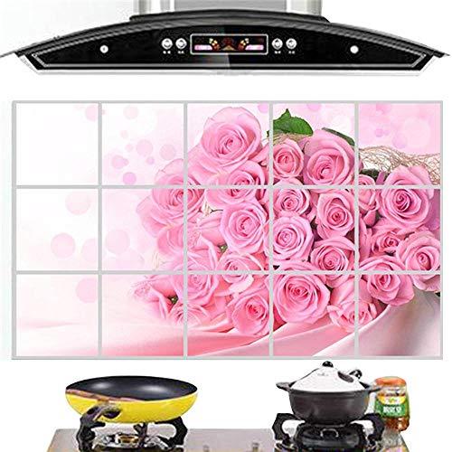 Wandaufkleber Rose Dunstabzugshaube Öl Beweis Aufkleber Hochtemperatur-Aufkleber Gemüsetapete@Farbe_Gemüse A