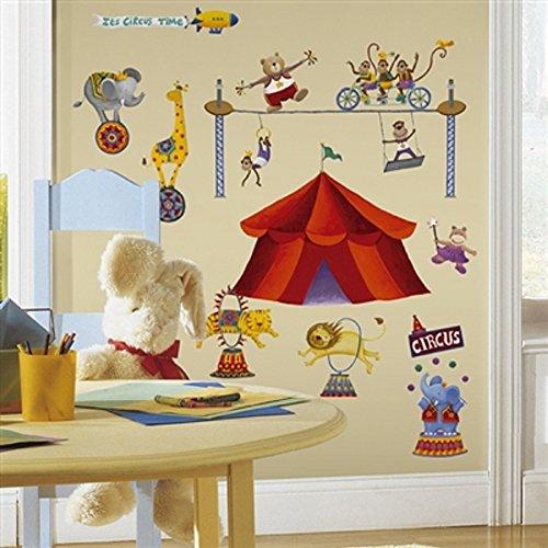 (Hochwertiger Wandtattoo Tattoo Wand Tattoo Zirkus Elefant Löwe Tiger Affe Giraffe Bär Zirkuszelt künstlerisch mit außergewöhnlichem Design macht die Wand zu einen echten Blickfang)