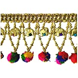 SARTHAM, Toran For Door - Handmade Door Hanging, Golden Beads