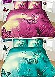3D Tier Schmetterling Bettwäsche sets- 3D Bettbezug mit Kissen 3Telefongespräch teilig Qualität Polycotton Bettwäsche sets- alle UK Größen, BUTTERFLY- Teal, Einzelbett