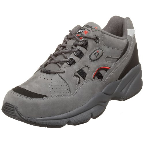 Propet M2034Herren Stabilität des Walker Sneakers Leder Schuhe, Grau - Grey/Black Nubuck - Größe: 46 EU(M) -