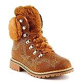 Fusskleidung Damen Schnür Boots Nieten Warm Gefüttert Stiefel Stiefeletten Camel EU 37