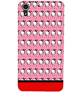 PrintDhaba Kitty pattern D-1778 Back Case Cover for HTC DESIRE 728 (Multi-Coloured)