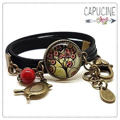 Bracelet noir avec cabochon verre Arbre de Vie - Bracelet breloques bronze - Bracelet multi-rangs - Bracelet Arbre de Vie - cadeau de noël, cadeau saint valentin, cadeau fête des mères
