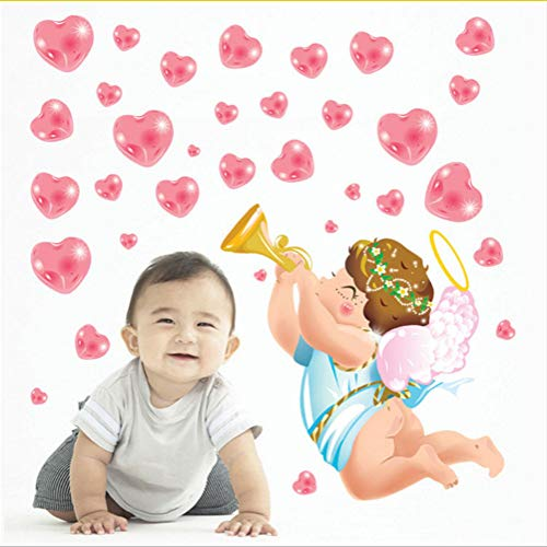 Zfkdsd Neue Cartoon Liebe Engel Herz Wandaufkleber Für Kinderzimmer Wanddekoration Aufkleber Baby Aufkleber Wohnkultur