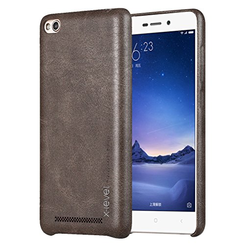 MOONCASE Hongmi 3/3s Hülle, Jahrgang Prämie PU Leder Hart PC Handy Schutz Tasche Schutzhülle Case für Xiaomi Rotmi 3 / 3S Braun