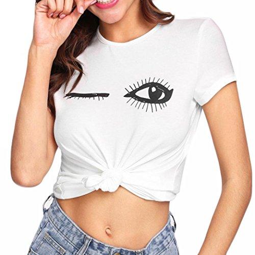 OSYARD Damen-Casual Solide O-Neck Farben-Augen-Wimper-Druck-T-Shirt Kurzarm-Oberseiten-Bluse(EU 42 / L, Weiß -