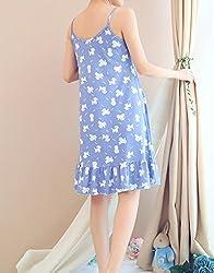 MyFav Comfy Youth Girl Pyjama Kawaii Dog Nightdress Sleeveless Pleated Nightgown