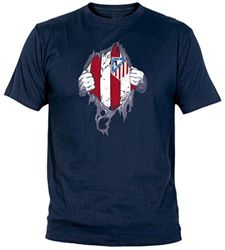 Desconocido Camiseta El Atleti En El Corazón Adulto/niño Camisetas del Atleti colchoneras ATM rojiblanco (L, Marino)