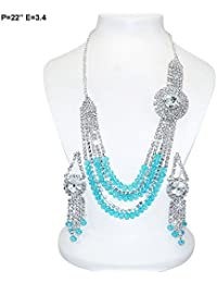 Florishkart Multi Color Cz Stone Gold Plated Necklace Set New Fashion Imitation Jewelry