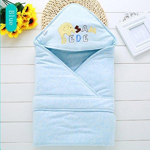HTTMYY Baby Baumwollschlafsack SchlafsäCke Netter Karikatur Tierart FrüHlings Herbst 90x90cm 0-6 Monate , blue