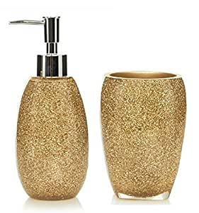 Glitter gold bathroom accessory set by Bathextras